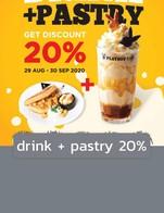 โปรโมชั่น drink + pastry 20% ลด 20 % เมื่อสั่งเมนูในหมวด Smoothies&Shakes., Pie&Parstry., Chocolate., Coffee&Tea., Soft Drink., Babyccino