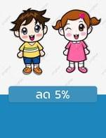 โปรโมชั่น ลด 5% ลด 5 % เมื่อสั่งเมนู ผู้ใหญ่, เด็กสูง110ซม., เด็กสูง130ซม., เด็กสูง120ซม., เด็กสูง140ซม., เด็กสูง100ซม., เด็กสูง90ซม.