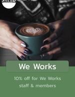"""โปรโมชั่น We Works ลด 10 % เมื่อสั่งเมนู Banana PB Shake, Espresso, Cinsault (Low Intervention Red), Steak and Parmesan Frites, Barrel-aged Negroni, Long Black, Blaufrankisch & Pinot Blanc Blend (Organic Red), Sous-vide Beef Brisket Toast, Soda Water 325ml, By The Glass (150ml), Yuzu G&T, Gruner Veltliner (Organic White), Avocado Loaded Toast, Smoked Salmon Tartare, Basil-ade, Chardonnay (2017) (Low Intervention White), Singha beer, Coffee Creme Caramel., Chocolate Martini, Iced yuzu cafétonic, Soda Water (325ml), Basilade, """"Sort of Caesar"""" salad, Orange chocolate, Mini Caesar Salad, Coffee cremé caramel, Home-made Ginger Ale, English Breakfast, Bacon mac & cheese., Orange Mocha, Parmesan Truffle, Fettuccini Pasta (V), Iced Lemon Mint Tea, Tom Yum Eggs Benedict, Fry-up, Bottled Water 500ml, Butterfly Pea, Perfect Thyming, Thick chocolate ganache, Coldbrew, Piccolo, Triple-cheese toastie, A f**cking good brownie, Singha Beer (320ml), A F*cking Good Brownie, Burrata and Mango Salad, Espresso martini., Flat White, Aged Negroni, Genmaicha, Espresso Martini, Chai latte, Salmon Carbonara, Earl Grey, One in a melon, Granola bowl, Cured, then Hot-Smoked Salmon, Pimp My Breakfast, Extra Granola Portion, Natural Rooibos tea, Bottled Water (500ml)"""