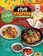 VIVA Fajitas These flavorful recipes will make you mouth-watering.  Beef Fajitas Arno's Steak Marinated in Mexican Spices Perfectly Cooked with Tri-Color Bell Peppers and Onions Served with Homemade Tortillas. 650.-  Beef Nacho Arno's Lean Ground Beef, Freshly Diced Tomato, Pickled Jalapeño Peppers, Nacho Cheese Sauce on a bed of Crispy Tortillas 390.-  Slow Baked Spicy Red Beans 150.-  Fresh Tomato Salad 90.-  The combo set is raves! for only 1,090 .- Regular Price 1̶,̶2̶8̶0̶ .- It's Good for Sharing!  This Special Available from  13-19 November 2020 At All Arno's Group Restaurants EXCEPT for Arno's Silom and ArnoThai  *** These prices are subject to 7% VAT and Service Charge 4%  #Arnos #ArnosGroup #Restaurant #Promotion #Fajitas #BestSteak #DryAgedBeef #Steak #Burger #ร้านอาโนส์#ดรายเอจ #อาโนส์#โปรโมชั่น