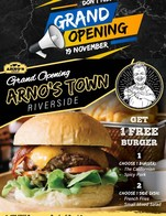 Grand OpeningArno's Town  At Arno's, we are pleased to announcethe launch on November 19, of our new venturecalled Arno's TownRegrouping all our landmark brands in one place.Arno's Steak, Arno's Burger,ArnoThai, Arno's Seafood, Arno's Pizza,Arno's Bread, and Bakery  Let's celebrate togetherWe are giving away 1 Free BurgerFor 100 Burgers per Day for 5 Days! Choose 1 Burger: The Californian / Spicy Pork Choose 1 Side dish: French Fries / Mixed Salad  Start from Thursday 19th November 2020Until Monday 23rd November 2020During our operation time 11.00-23.00 hrs. at Arno's Town - Riverside, Phra Athit Road Location: https://goo.gl/maps/Xjy8bZwA3KwYhoMU7Tel: 02 108 0023-4 *** Free burger is no available to take away  We still have many more menu available Please ask our staff   #Arnos #ArnosGroup #ArnosTown #ArnosButcherandEatery #Restaurant #FreeBurger #BestSteak #DryAgedBeef #Steak #Burger #ร้านอาโนส์#ดรายเอจ #อาโนส์