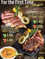 For the First Time at Arno's Let's meet our Wagyu Steak 🥩 tender, and juicy 🤤  🥩 Wagyu Prime Rib Set (MB3-4/MB4-5) 👍 Dry-Aged 60 Days => 2,400.- 👍 Dry-Aged 80 Days => 2,600.-  🥩 Wagyu Rib Eye Set (MB3-4/MB4-5) 👍 Dry-Aged 60 Days => 3,200.- 👍 Dry-Aged 80 Days => 3,450.-  *** Wagyu Dry-Aged average weight ~500 g.  Each Set Serve Together with 🔅Nachos Farmer's Potato  🔅Country Style Grilled Fresh Corn, Onion, and Tomato  and Homemade Tamarind Sauce   This Promotion available on 5 - 18 March 2021 At All Arno's Group Restaurants EXCEPT for  Arno's Suanplu, Arno's Rain Hill, Arno's Silom, Arno's Pattaya and Arno's Chiangmai, and also ArnoThai-Thonglor and ArnoThai-Sukhonthasawat 28  ---------------------------------------------------------- Stay Tuned with us: Facebook: arnosgroup.th LINE Official: @arnosgroup IG: arnosgroup Youtube: arnosgroup  Order our meat to cook at home delivery.arnosgroup.com  *** Promotion prices are subject to Service Charge 4% and 7% VAT #Arnos #ArnosGroup #Restaurant  #ร้านอาโนส์ #ดรายเอจ #อาโนส์ #โปรโมชั่น #Promotion #RibEye #PrimeRib #Wagyu #BestSteak #DryAgedBeef #Steak #Burger #WFH #WorkFromHome