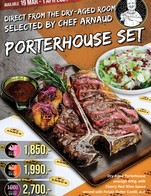 Porterhouse is back! Direct from the Dry-Aged Room Selected by Chef Arnaud PORTERHOUSE SET 🥩  Dry-Aged  PORTERHOUSE Steak ~800 g. ✔️ Dry-Aged 45 Days 1,850.- ✔️ Dry-Aged 80 Days 1,990.- ✔️ Dry-Aged 100 Days 2,700.-  Serve together with special 2 side dishes 🔸 Potato Butter Confit 🔸 Green Apple, Walnut with Wasabi Mayo served with Cherry Red Wines Sauce  This Promotion available from 19 March - 1 April 2021 At Arno's Group Restaurants following this list 📌 Arno's Narathiwat 15 📌 Arno's Suanplu 📌 Arno's Rain Hill 📌 Arno's Sukhumvit 13 📌 Arno's Chiangmai 📌 ArnoThai-Chan Road 📌 ArnoThai-Sukhonthasawat 28  ---------------------------------------------------------- Stay Tuned with us: Facebook: arnosgroup.th LINE Official: @arnosgroup IG: arnosgroup Youtube: arnosgroup  Order our meat to cook at home delivery.arnosgroup.com  *** Promotion prices are subject to Service Charge 4% and 7% VAT #Arnos #ArnosGroup #Restaurant  #ร้านอาโนส์ #ดรายเอจ #อาโนส์ #โปรโมชั่น #Promotion #PORTERHOUSE  #BestSteak #DryAgedBeef #Steak #Burger #WFH #WorkFromHome