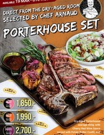 Porterhouse is back! Direct from the Dry-Aged Room Selected by Chef Arnaud PORTERHOUSE SET 🥩  Dry-Aged  PORTERHOUSE Steak ~800 g. ✔️ Dry-Aged 45 Days 1,850.- ✔️ Dry-Aged 80 Days 1,990.- ✔️ Dry-Aged 100 Days 2,700.-  Serve together with special 2 side dishes 🔸 Potato Butter Confit 🔸 Green Apple, Walnut with Wasabi Mayo served with Cherry Red Wines Sauce  This Promotion available from 19 March - 8 April 2021 At Arno's Group Restaurants following this list 📌 Arno's Narathiwat 15 📌 Arno's Suanplu 📌 Arno's Rain Hill 📌 Arno's Sukhumvit 13 📌 Arno's Chiangmai 📌 ArnoThai-Chan Road 📌 ArnoThai-Sukhonthasawat 28  ---------------------------------------------------------- Stay Tuned with us: Facebook: arnosgroup.th LINE Official: @arnosgroup IG: arnosgroup Youtube: arnosgroup  Order our meat to cook at home delivery.arnosgroup.com  *** Promotion prices are subject to Service Charge 4% and 7% VAT #Arnos #ArnosGroup #Restaurant  #ร้านอาโนส์ #ดรายเอจ #อาโนส์ #โปรโมชั่น #Promotion #PORTERHOUSE  #BestSteak #DryAgedBeef #Steak #Burger #WFH #WorkFromHome