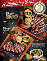 Arno's Lightning Deal! Let's Celebrate this long weekend with our WAGYU 🥩  🥩 Wagyu (MB6/7) Sirloin Set 👍 Dry-Aged 30 Days => 2,700.-  🥩 Wagyu (MB6/7) Rib Eye Set 👍 Dry-Aged 30 Days => 2,950.-  *** Wagyu Dry-Aged average weight ~300 g.  Each Wagyu Set is served with Delicious Side Dishes  🔅Baby Brussel Sprouts Sautéed with Garlic and Bacon  🔅Garlic bake with butter and Grilled Bell pepper 🔅Old Style Mustard.  Available at all Arno's Group Restaurants from 9-22 April 2021 EXCEPT for Arno's Suanplu, Arno's Rain Hill, Arno's Silom, and ArnoThai. For Arno's Chiangmai, available until 29 April 2021  ---------------------------------------------------------- Stay Tuned with us: Facebook: arnosgroup.th LINE Official: @arnosgroup IG: arnosgroup Youtube: arnosgroup  Order our meat to cook at home delivery.arnosgroup.com  *** Promotion prices are subject to Service Charge 4% and 7% VAT #Arnos #ArnosGroup #Restaurant  #ร้านอาโนส์ #ดรายเอจ #อาโนส์ #โปรโมชั่น #Promotion #Sirloin #RibEye #สันนอก #ริบอาย #Wagyu #BestSteak #DryAgedBeef #Steak #Burger #WFH #WorkFromHome