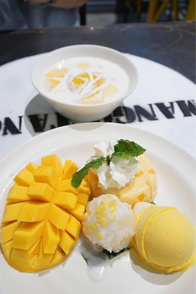 Mango Tango + Extra Sticky Rice (160฿)  / Mango Aloha (75฿)