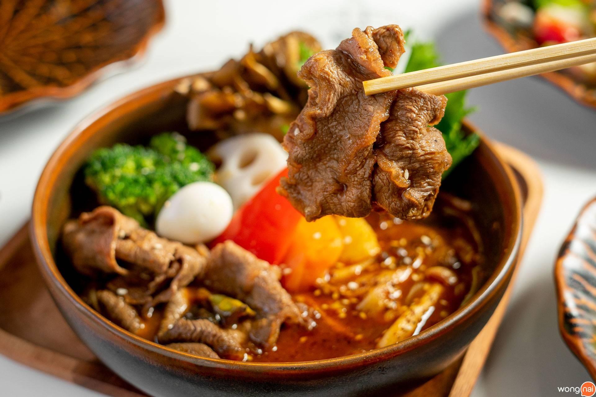 """เมนู """"ซุปแกงกะหรี่เนื้อโคขุนชาบู"""" ของร้าน """"Garaku"""""""