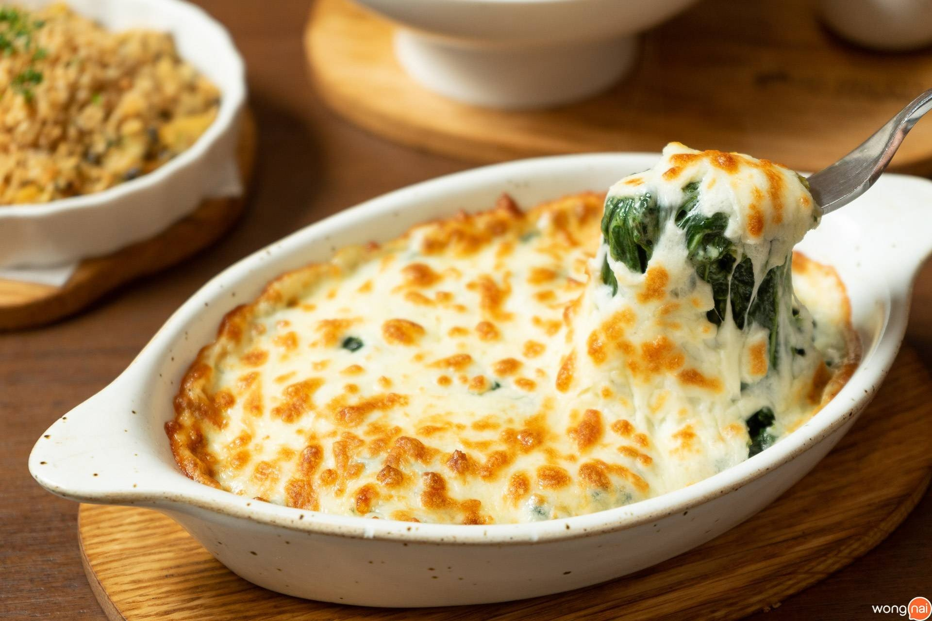 Creamy Spinach Gratin On The Table