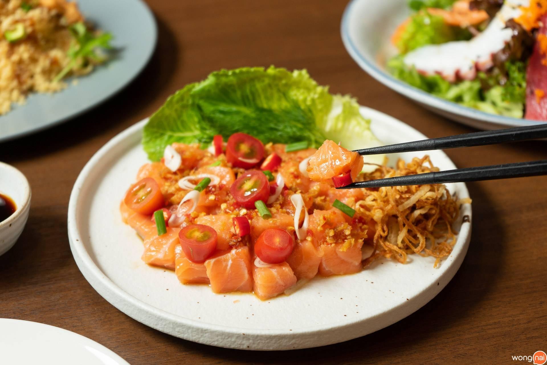 Spicy Salmon Sashimi On The Table