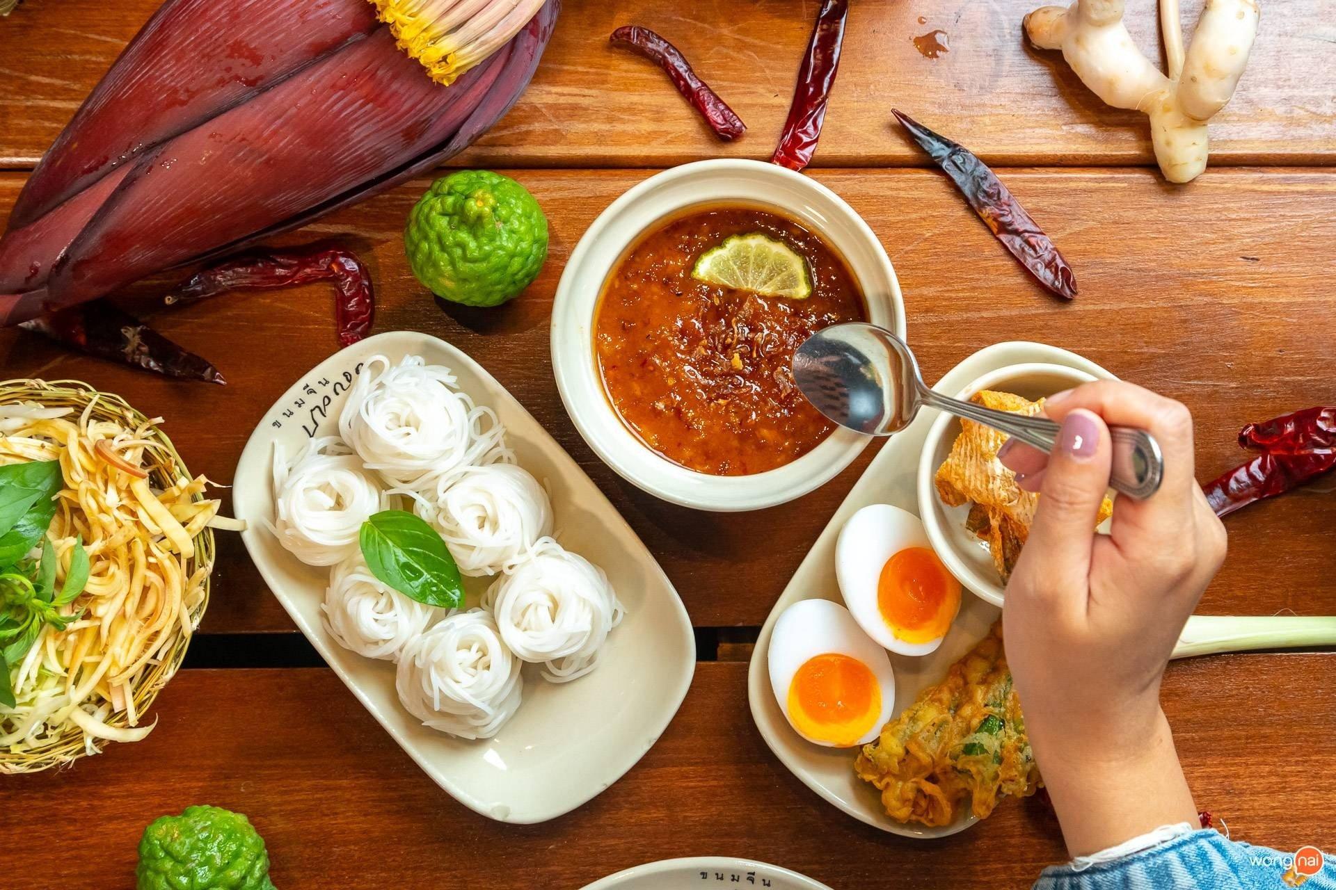 เมนู ขนมจีนน้ำพริก ของร้าน ขนมจีนบางกอก