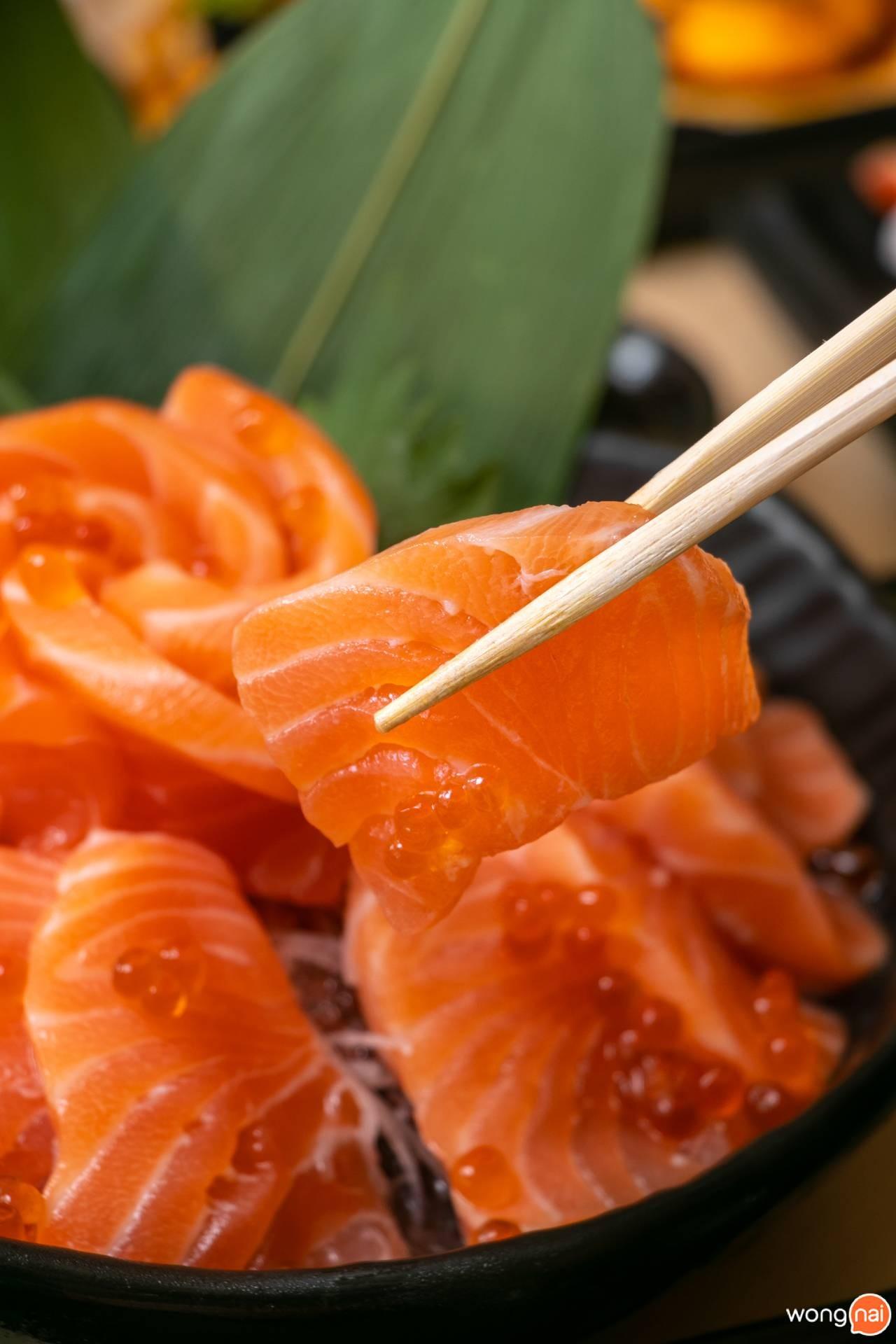 """""""แซลมอนซาชิมิ"""" ของร้าน """"Jaiko Sushi Buffet"""""""
