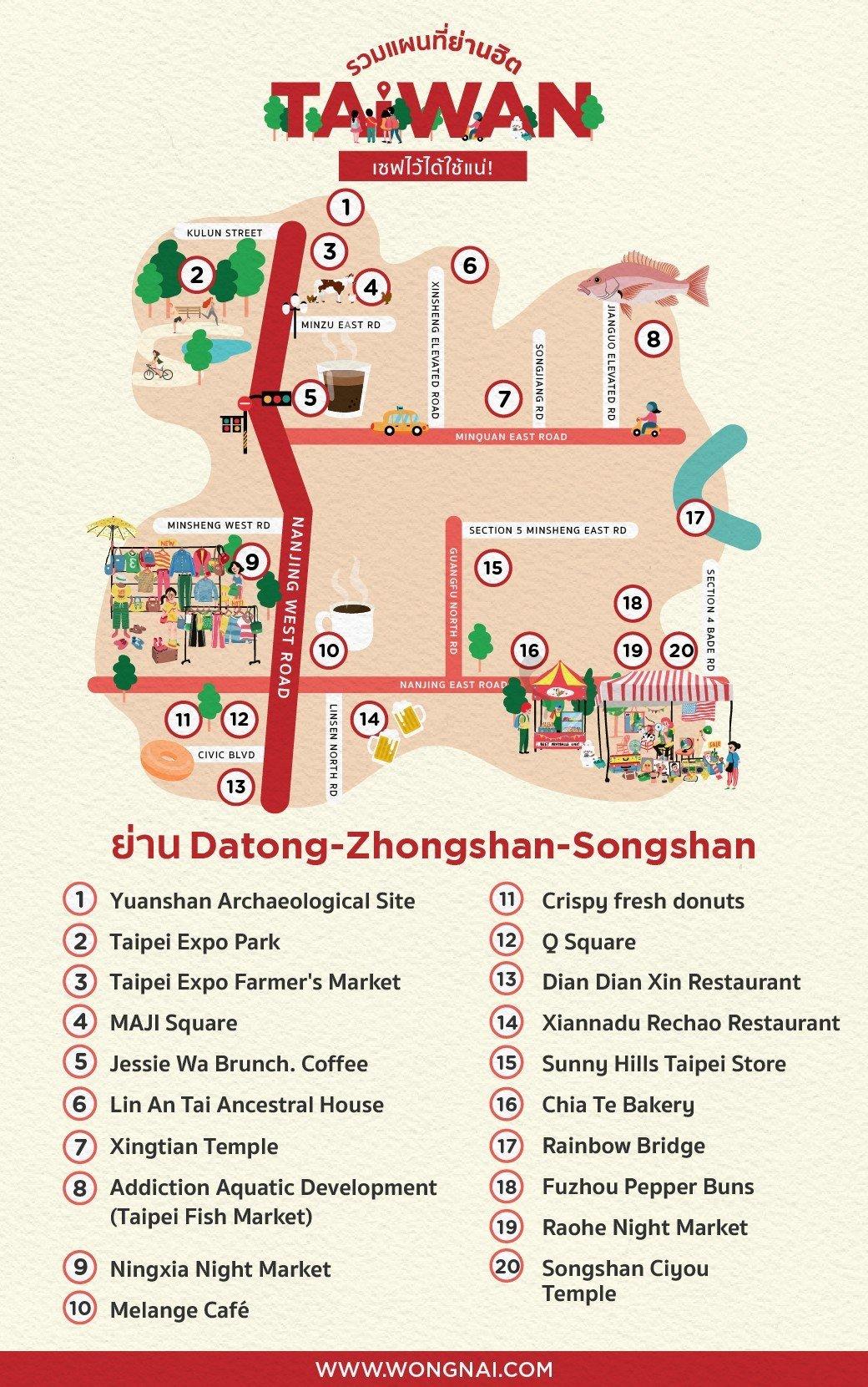 แผนที่ย่าน Datong, Zhongshan, Songshan, ไต้หวัน