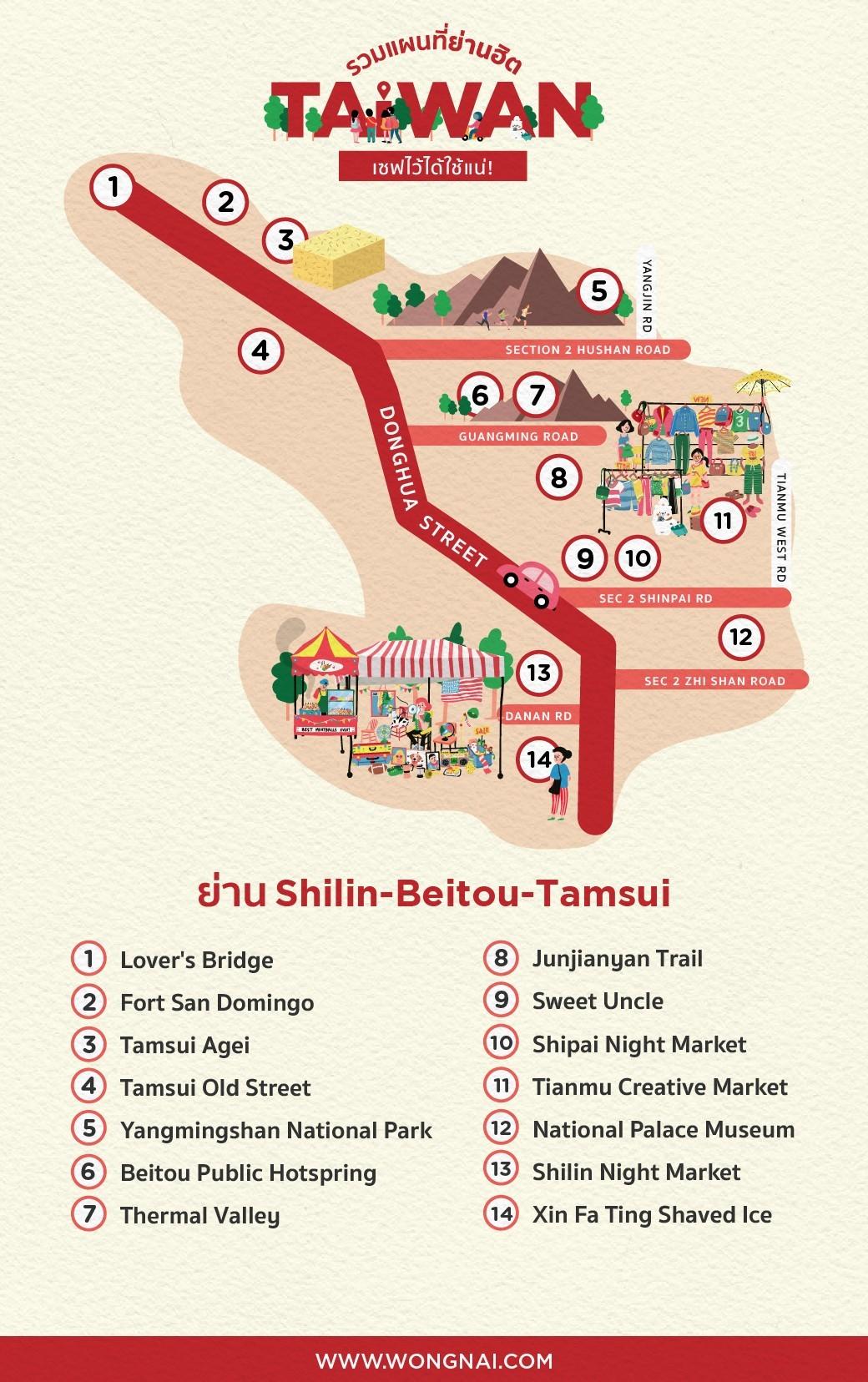 แผนที่ย่าน Shilin-Beitou-Tamsui, ไต้หวัน