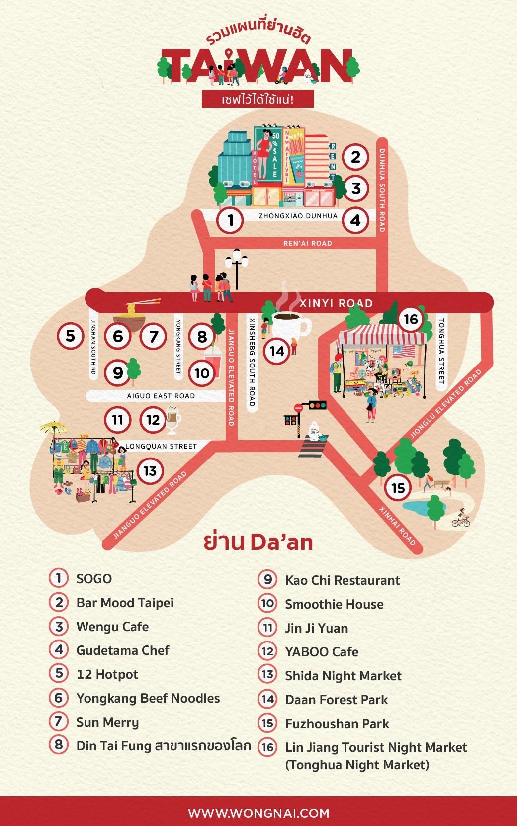 แผนที่ย่าน Da'an, ไต้หวัน