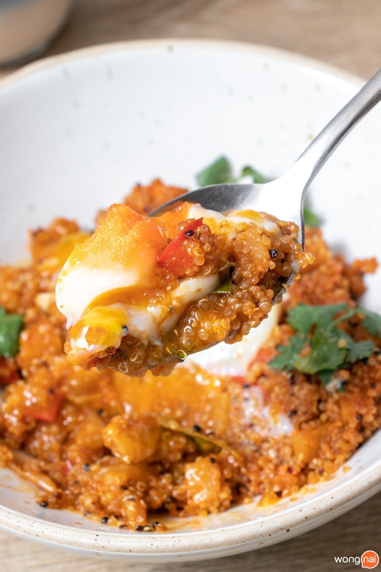 Fried Quinua Tom-Yum with Diced Salmaon