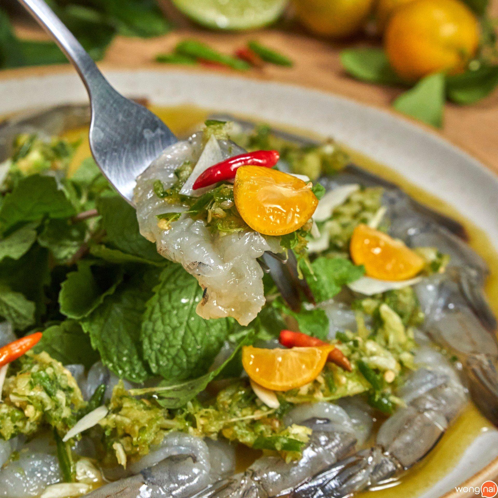 กุ้งแช่น้ำปลาส้มจี๊ด
