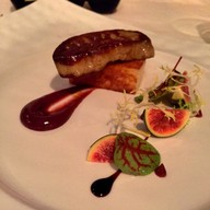 Foie gras escalope, Rasberry coulus, Rocket salad