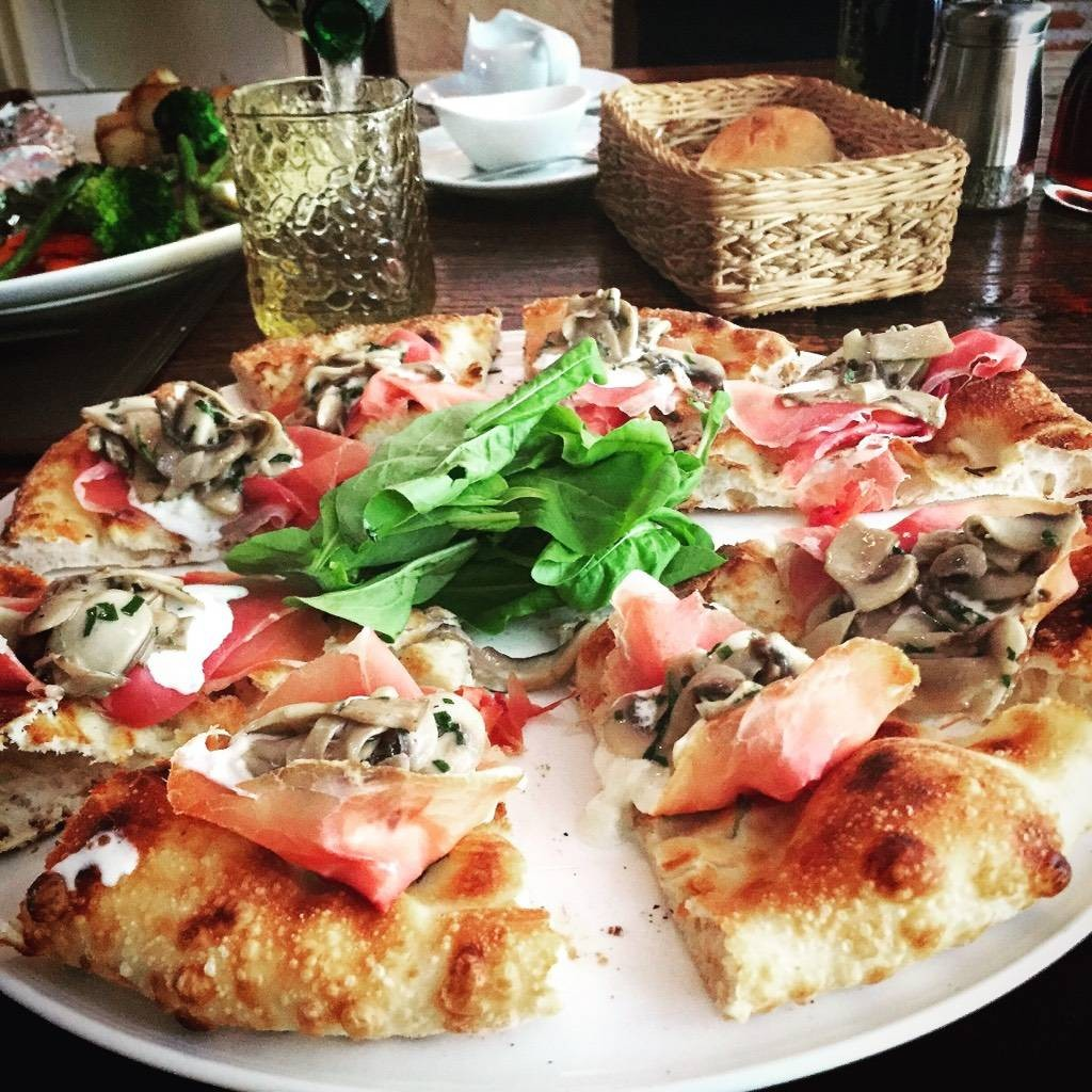 My Special Pizza (Pizza Bread, Burata Cheese, Mushroom, Proscuitto, Not In Menu)