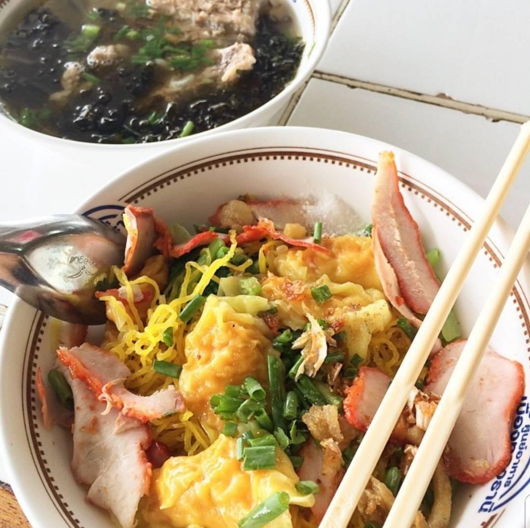 บุเรงนองบะหมี่เกี๊ยวกุ้งหมูแดง ศูนย์อาหารเมืองทอง