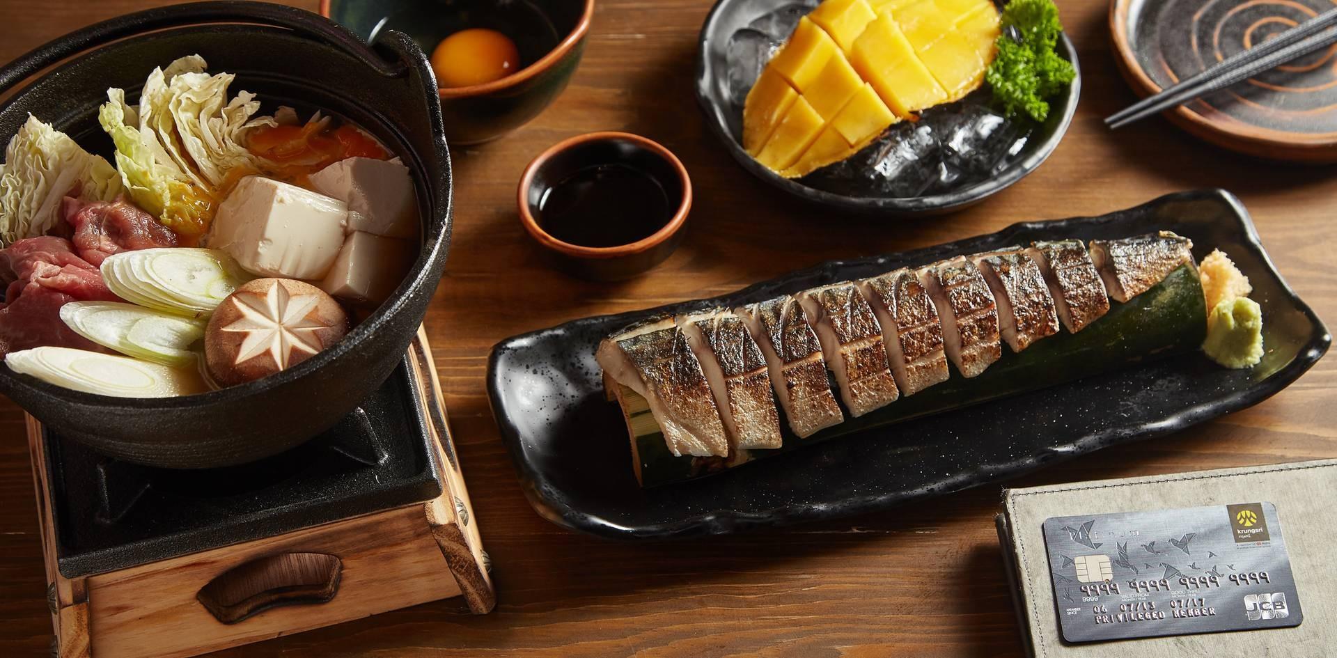 1. สุกี้เนื้อหม้อไฟญี่ปุ่น 2. Aburi Chimosaba 3. Aburi Mango