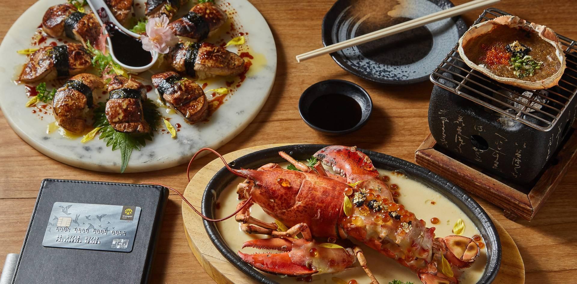 รายชื่อเมนูอาหารที่ทางร้านแนะนำ ได้แก่ 1. คานิมิโสะ 2. ฟัวกราส์ซูชิ 3. ล็อบสเตอร