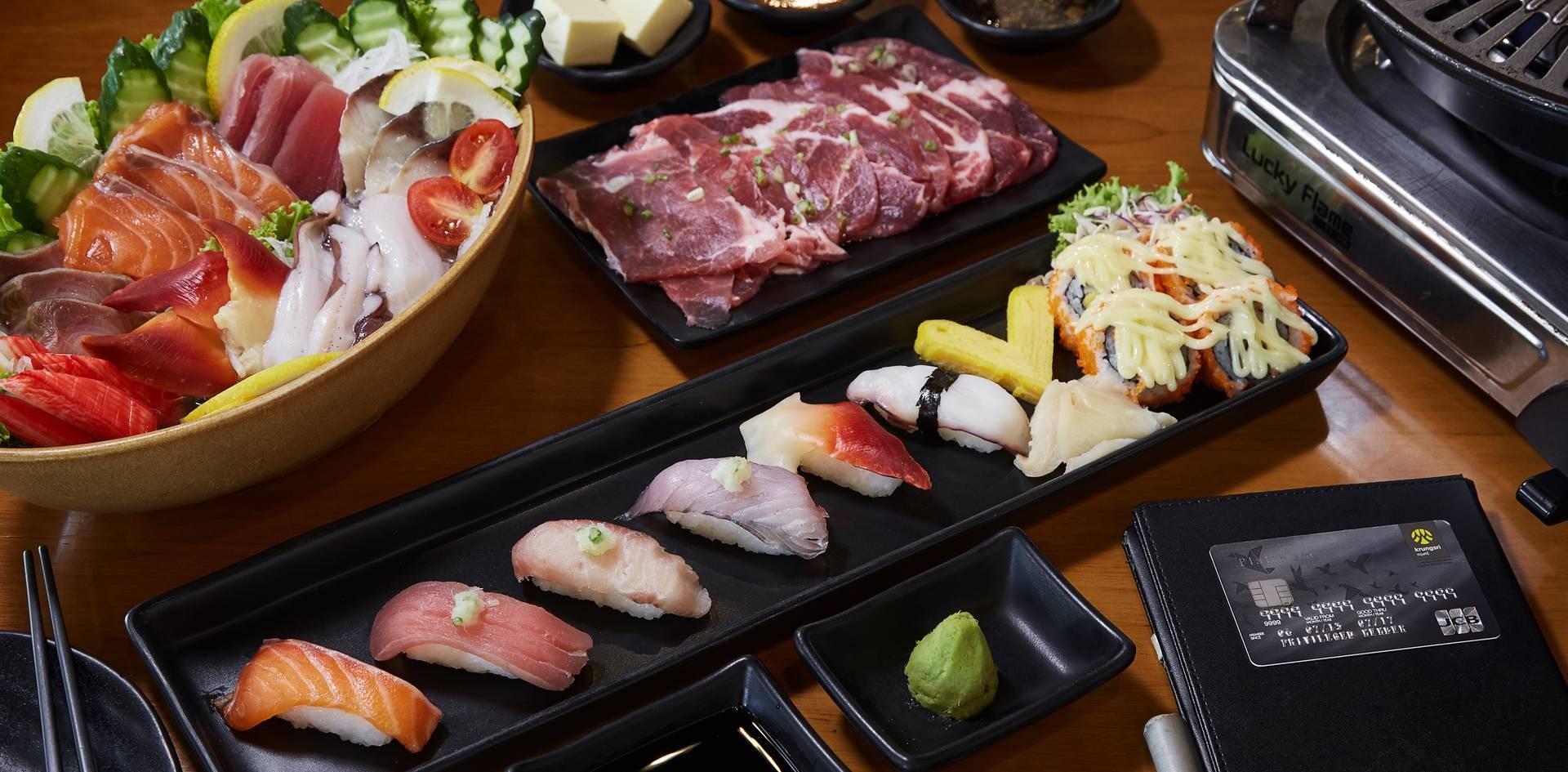 1. Stone Grill Pork 2. Sashimi (L) 3. Naji Sushi Set