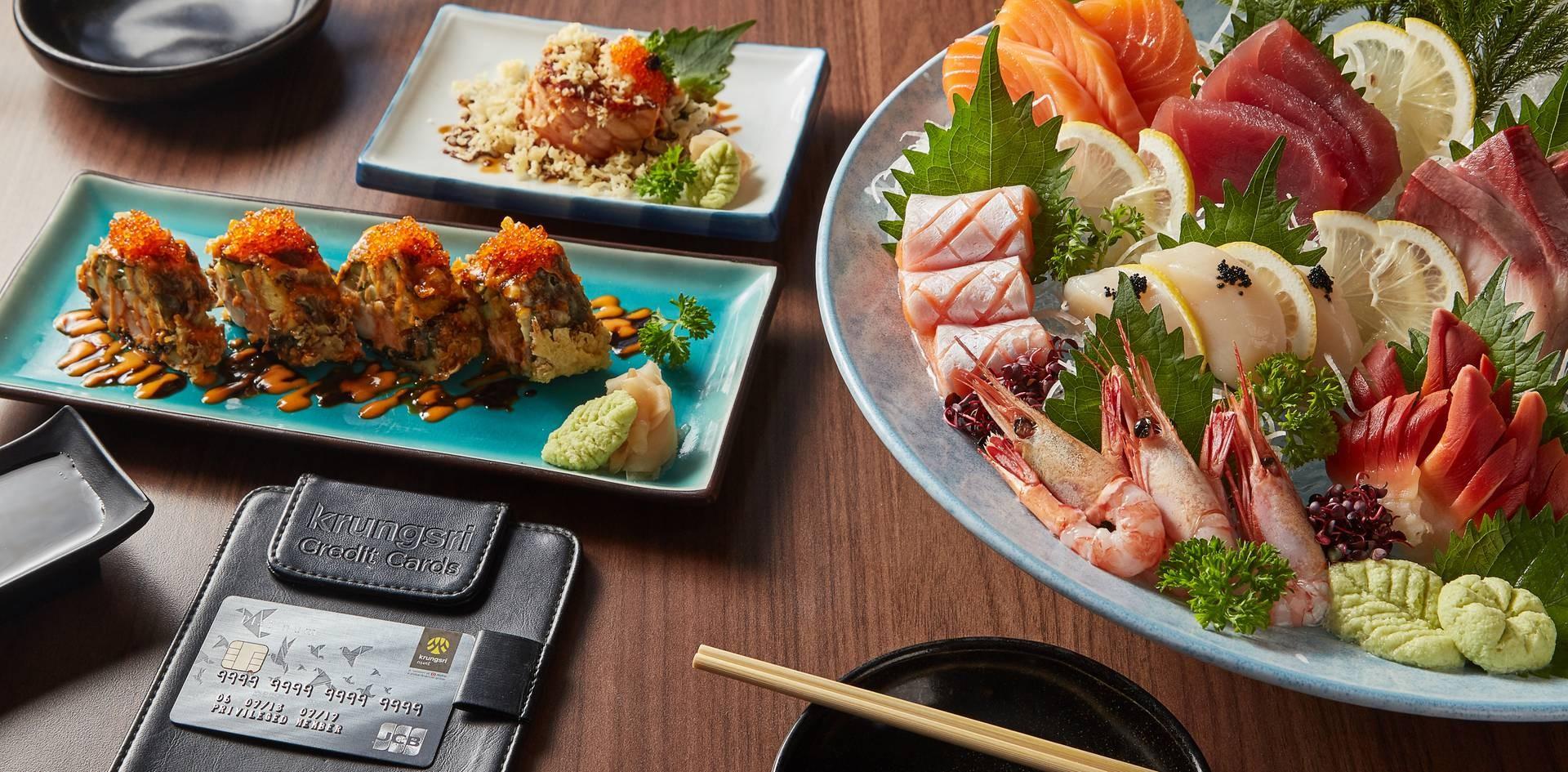 1. Nakama Roll 2. Salmon Mentai Sushi Ball 3. Umi Sashimi