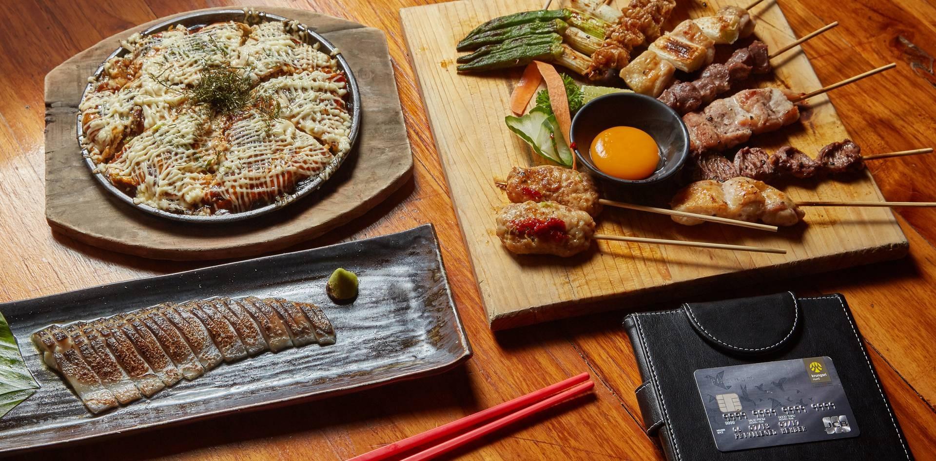 1. Aburi Shime Saba  2. Yakitori Mix10 3. Hiroshima Okonomiyaki