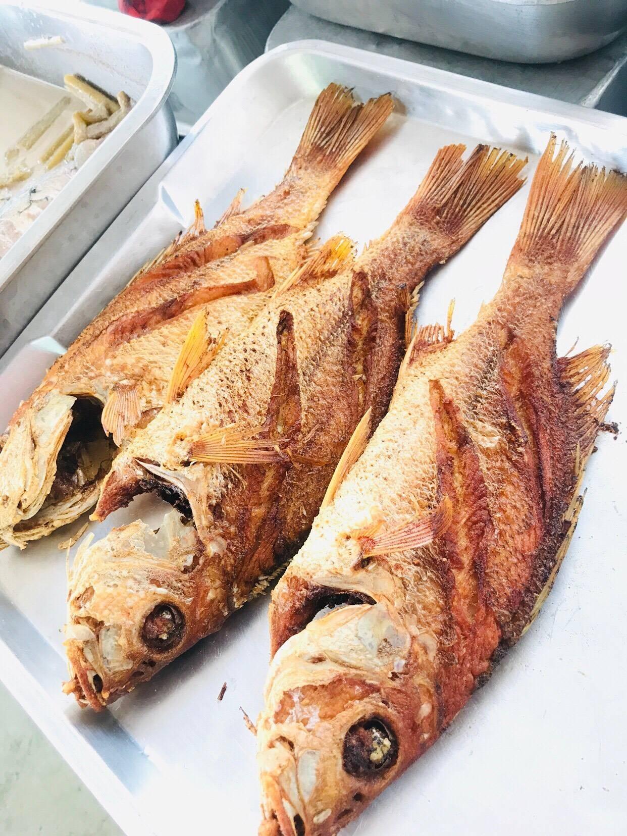 ปลากระพงแดงทอดขมิ้น(ปลาทะเล)