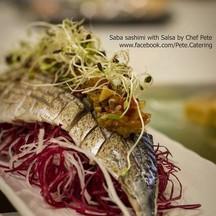 Saba sashimi with salsa