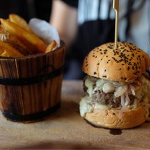 BaconBlue Burger With Wedges