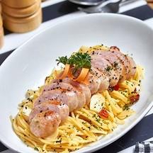 """Toulouse Sausage Spicy Spaghetti"""