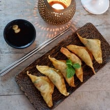 Homemade Dumplings filled with Spicy-Sour Tuna Salad.