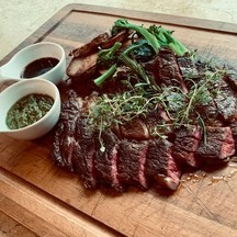 Grilled Aus wagyu served with veal stock sauce, mustard, and Italian salsa verde