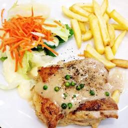 สเต็กไก่ซอสพริกไทยดำ