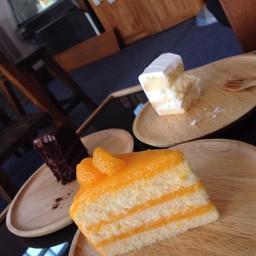 เค้กส้ม มีซากเค้กชอคหน้านิ่ม+ เค้ามะพร้าวเป็นbg 555