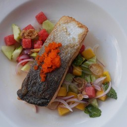 Grilled Salmon with Fruit Salad