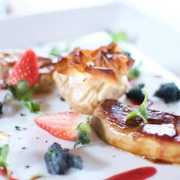 Foie Gras Duo Served with Raspberry Sauce & Apple fillo