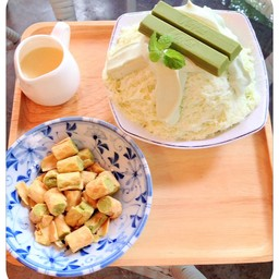 """สำหรับผู้ที่ชื่นชอบ ชาเขียวเป็นพิเศษ ต้องเมนูนี้เลย """"Set ชาเขียว บิงซู"""""""