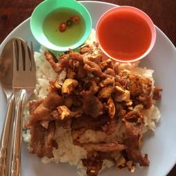ข้าวหมูทอด Fried Pork Over Rice