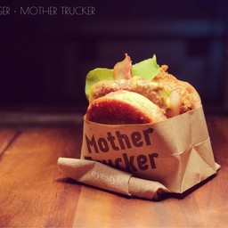 beef burger - onion ring inside