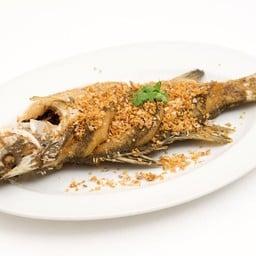 ปลากะพงทอดกระเทียม