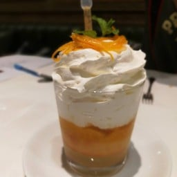 Cake In Rum Syrup,Orange and Whipped Cream