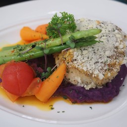Herb crusted Seabass
