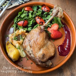 Duck Confit with Raspberry Sauce