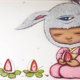 ภาพศิลปะโดย Alex Face ด้านข้างของร้าน