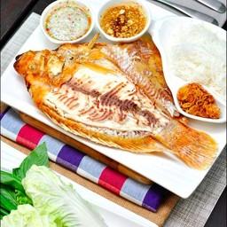 เมี่ยงปลาทับทิมเผา