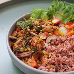 เมนูอร่อย ขายดี ข้าวยำใบชาพม่า (มังสะวิรัต) ไม่เผ็ด