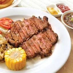 สเต็กเนื้อริบอายออสเตรเลียย่างจิ้มแจ่ว