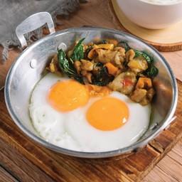 กะเพราไก่ไข่กระทะ นิมิตร